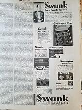 1931 Vintage Mens SWANK Kum-A-Part Cuff Links Buttons Dress Assets Fashion Ad