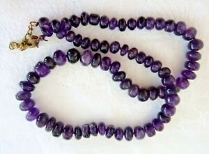 Artisan Natural Amethyst Necklace Graduated Size Polished Genuine Amethyst Beads