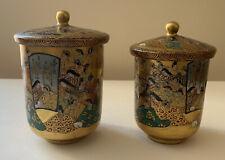 Vintage/Antique Japanese? Porcelain Lidded Cups - Lavish Gold - Writing Inside