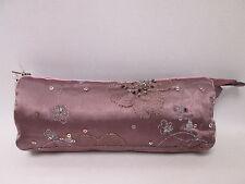 Purple Beaded Cosmetic Makeup Bag Pencil Pen Brush Case Storage Pouch Purse #6F3