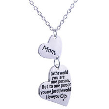 Double Heart Necklace Mom You Are The World Love Pendant Charm Gift Jewelry New
