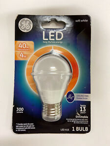 GE LED Ceiling Fan Bulb Large Base Soft White Frosted 40Watt Replace-Damaged Pkg
