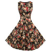 Women's Vintage Style 1950's Retro Rockabilly Evening Party Pin Up Swing Dress