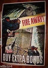 1944 US Navy WWII Poster Fire Away Schreiber 5th War Loan Large Format