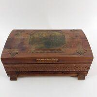 Vintage Footed Dresser Box Cedar Hand Carved Decoupage Art Deco Flowers 6 x 10.5