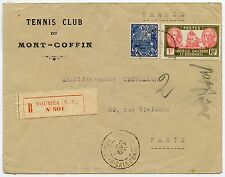 TENNIS CLUB ENVELOPE 1930 NEW CALEDONIA REGISTERED...MONT COFFIN