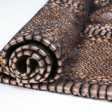Rose Gold Mystic Python Snake on Black Cowhide Leather Suede