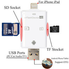 OTG 3in1 Micro SD TF PC Card Reader USB 2.0 For Android iPhone iPad 8 7 6 PLUS