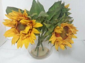 Silk Sunflower Arrangement Bouquet Sunflowers In Round Ball Glass Vase with Gel