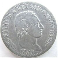 1827 ITALIAN STATES, SARDINIA, Carlo Felice, 1 Lira grading FINE / aVF. RARE.