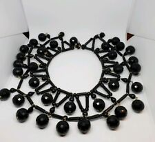 Black Disco Ball Spiderweb Bib Necklace Crazy Vintage 1980s Glass Metal Plastic