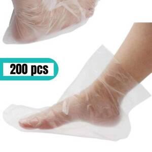 200pcs Clear Plastic Disposable Bath Foot Cover Pedicure Spa Wax Bag Sock