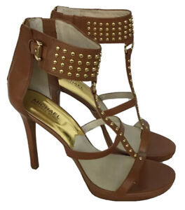 Michael Kors Tan Studded Leather Sandals/heels With Original Box Size 10
