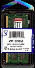 Kingston KVR16LS11/8 (8 GB, PC3-12800 (DDR3-1600), DDR3 SDRAM, 1600 MHz, SO DIMM 204-pin) RAM Module