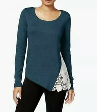 Kensie Women's Lace-Trim Sweater, Teal, XL (A26-18)