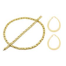 Womens 14K Gold FN Hugs & Kisses Necklace,Bracelet,Hoop Earrings Set XOXO