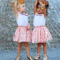 enfants bébé fille robe sans manches pois paillettes Tulle Tutu fête de soleil