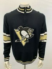 Pittsburgh Penguins NHL Hockey Mock 1/4 Zip Sweater Men's Large Back Acrylic