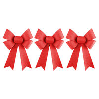 Gold, Silver or Red Christmas Tree Tie-On Glitter Bows Decorations (3-Sizes)
