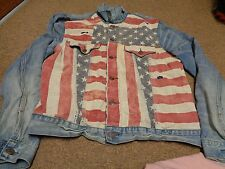 VTG POLO RALPH LAUREN JACKET SZ XL MEN WESTERN TRUCKER SPORT DENIM 90S FLAG USA