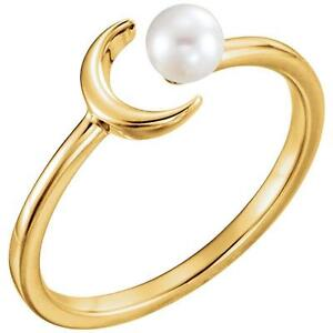 14K Yellow Gold Crescent Moon Pearl Ring Size 7