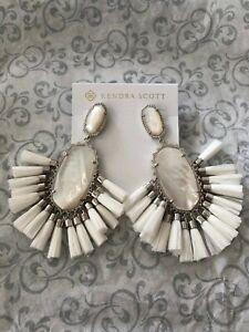 Kendra Scott Kristen White Mother Pearl Tassel Drop Earrings Fashion Silver NWT
