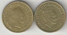 2 HIGH DENOMINATION 10 KRONE COINS from DENMARK DATING 1989 & 1998 (2 TYPES)