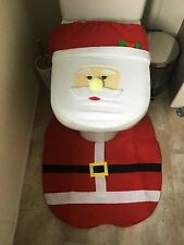 4 Pcs Happy Santa Toilet Seat Cover Rug Set Bathroom Decoration