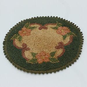 "5.25"" Round Rug Green Beige Pink Brown Tapestry Hooked Vintage Dollhouse"