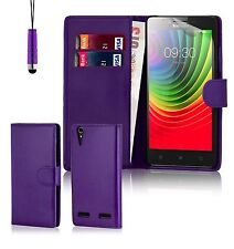 32nd Book Wallet PU Leather Case for Lenovo A7000 Screen Protector & Stylus Purple