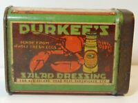 ANTIQUE DURKEES CINNAMON GUANTLET SPICE TIN LITHO CAN LOBSTER SALAD DRESSING OLD