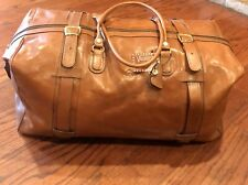 Valentina Brown Leather Duffle Bag Vintage Oversized Luggage Large Italy Buckles