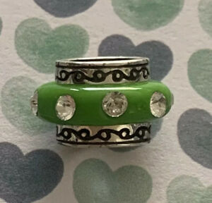 Brighton DAZZLE Oval Light GREEN Rows Crystals ABC Bead or Spacer
