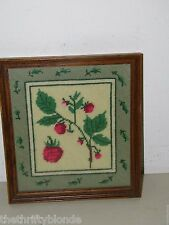 Vintage Framed Needlepoint Finished Raspberry 17379