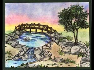 Waterfall  (Retired) U get photo#2 L@@K@examples ART IMPRESSIONS RUBBER STAMPS