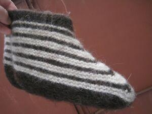 BOOTIES SLIPPERS cut socks homemade Russian PURE SHEEP WOOL yarn Fleece craft