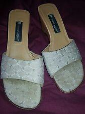 Etienne Aigner camel leather & beige textile logo wedge shoes slides Size 9