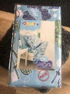 Kids Patterned Transport Themed Single Bed Sheet Set