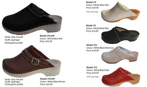Womens Wooden Clogs  Doctor Nurses Real 100% Leather White Black Brown size 3-8