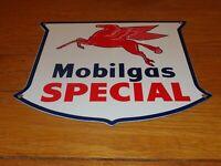 """VINTAGE MOBIL MOBILGAS SPECIAL PEGASUS 11 3/4"""" PORCELAIN METAL GASOLINE OIL SIGN"""