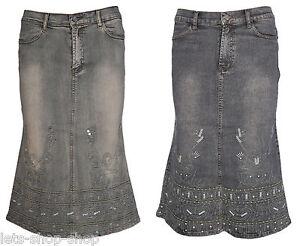 Womens Ladies Grey Denim Stretch Jeans A Line Stonewash Skirt Size 8 10 12 14 16