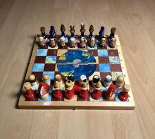 Vintage Holz Schach Spiel Kuriosität - USA vs China Presidenten Bush Kennedy