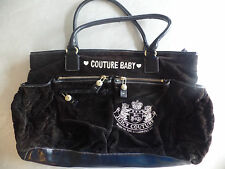 AUTH. JUICY COUTURE VELOUR DIAPER BAG black ivory baby LARGE boys girls W/ PAD