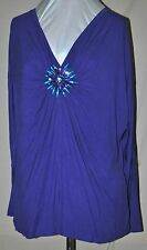 M MARC BOUWER SUNNING PURPLE DOLMAN V NECK KNIT TOP WITH GORGEOUS EMBELLISH'S 2X