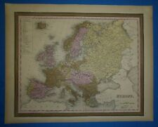 1849 S A Mitchell New Universal Atlas Map ~ EUROPE ~ Old Authentic