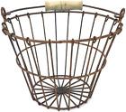 Egg Wire Basket Farmhouse Display Rusted Metal Wooden Handle Handmade Vintage