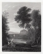 "CLAUDE LORRAIN 1800s Engraving ""Hagar and the Angel Landscape"" SIGNED Framed COA"