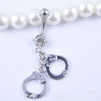 Handcuffs Belly Button Rings Crystal Rhinestone Navel Bar Body Piercing Jewelry