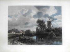 Kolorierter  Stahlstich 1866/7.LE MOULIN A VENT.Die Mühle).n. Gem.von Ruysdael-