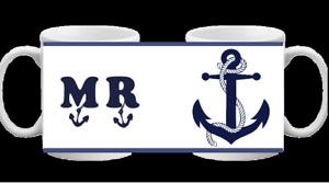 MR MRS NOVELTY MUG BLUE ANCHOR WHEEL NAUTICAL CUP BOAT COFFEE TEA WEDDING 221 /2